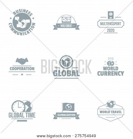 Global Time Logo Set. Simple Set Of 9 Global Time Logo For Web Isolated On White Background