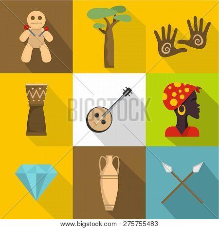 Africa Land Icons Set. Flat Set Of 9 Africa Land Icons For Web Isolated On White Background