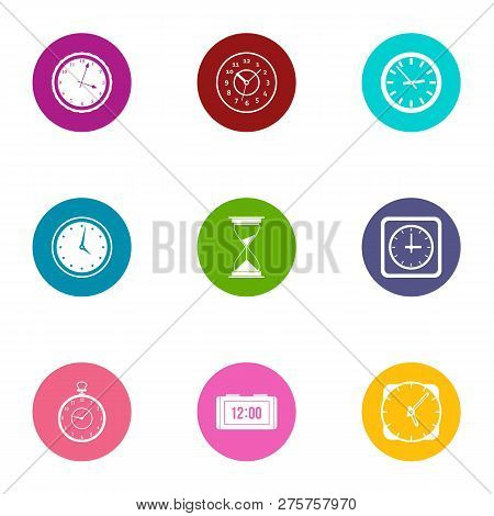 Timepiece Icons Set. Flat Set Of 9 Timepiece Icons For Web Isolated On White Background