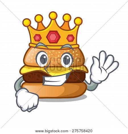 King Hamburger With The Cartoon Cheese Toping