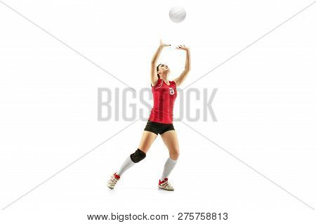 Female Professional Volleyball Player Isolated On White With Ball. The Athlete, Exercise, Action, Sp