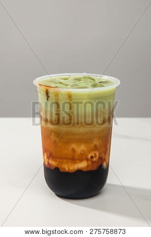 Brown Sugar Pure Milk Tea In A Transparent Glass