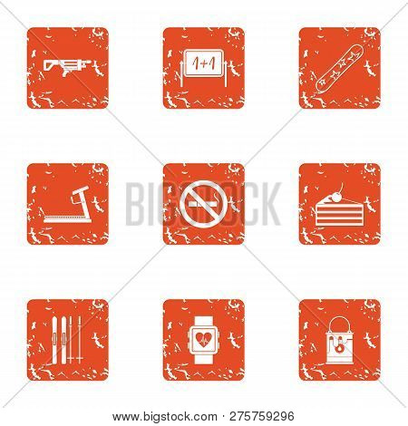 Medical Attention Icons Set. Grunge Set Of 9 Medical Attention Icons For Web Isolated On White Backg