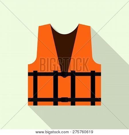 Work Orange Reflective Vest Icon. Flat Illustration Of Work Orange Reflective Vest Icon For Web Desi
