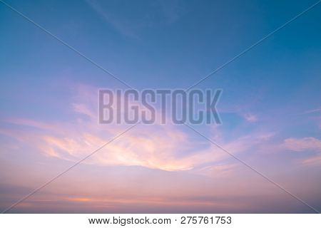 Dramatic Pink And Blue Sky And Clouds Abstract Background. Art Picture Of Orange Clouds Texture. Bea