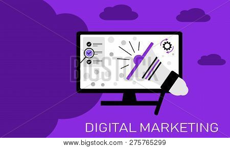 Concept Illustration For Digital Marketing Online Business. Illustration Design Of Vector Flat Icons