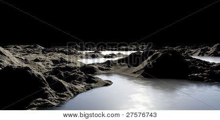 Abstract Image Of A Planet With Water. Find New Sources And Technologies. The Future Of Travel To Di