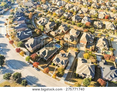 Top View New Development Residential Neighborhood In Cedar Hill At Morning Fall Light