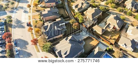 Panoramic Top View New Development Residential Neighborhood In Cedar Hill At Morning Fall Light