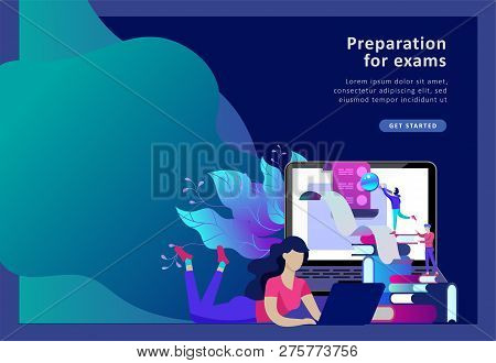 Concept Landing Page Template Education People, Internet Studying, Online Training, Online Book, Tut