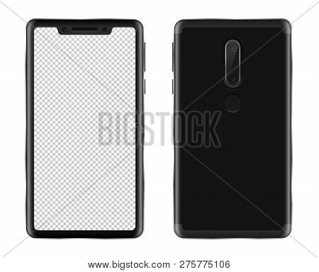 Realistic Smartphone Mockup On White Background Isolated Vector Illustration. Black Phablet With Bla