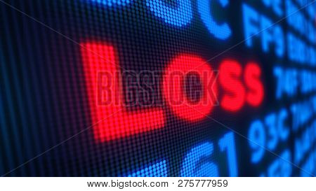 Stock Loss And Markets Crisis Concept. Economy Crash And Recession 3d Illustration. Screen Pixel Sty