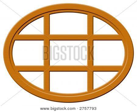 Dark Wood Oval Window