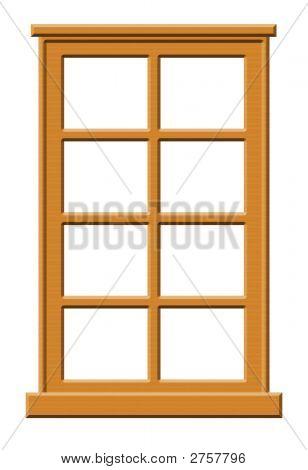 Dark Wood Window Illustration