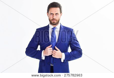 Confident Businessman Isolated On White Background. Bearded Businessman In Formal Suit. Successful B
