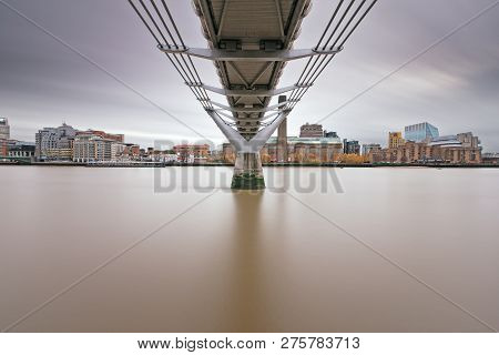 View Of The South Bank Of The Thames From Under The Millenium Bridge Long Exposure