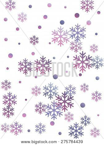 Crystal Snowflake And Circle Shapes Vector Design. Windy Winter Snow Confetti Scatter Flyer Backgrou