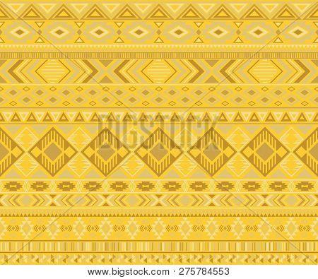 Peruvian American Indian Pattern Tribal Ethnic Motifs Geometric Seamless Background. Rich Native Ame