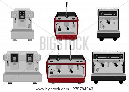 Illustration On Theme Big Colored Set Different Types Coffee Machine, Different Size Makers. Coffee