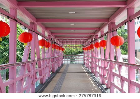 Perspective View Of Bridge Or Flyover Decorate With Chinese Lantern.