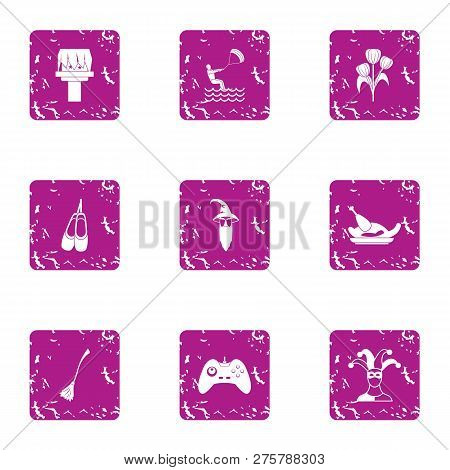 Absent Mindedness Icons Set. Grunge Set Of 9 Absent Mindedness Icons For Web Isolated On White Backg