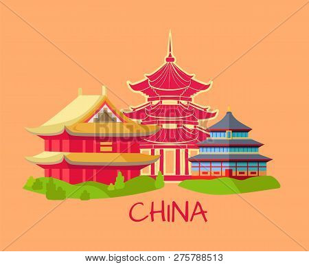 China Chinese Architecture Poster Set Vector. Architectural Style Of Asian Part Of World. Building A