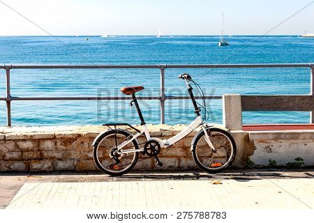 Stock Picture Of A Bike In Front Of The Blue Ocean.