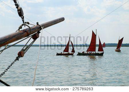 Traditional Sailing Boats (zeesenboot) In Wustrow, Fischland, Germany. A Zeesenboot (plural Zeesenbo