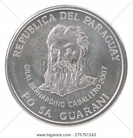 Five Hundred Paraguayan Guarani Coin With The Portrait Of General Bernardino Caballero Isolated On W