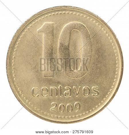 Ten Argentine Centavos Coin Isolated On White Background