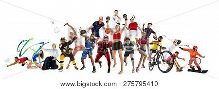Attack. Sport Collage About Kickboxing, Soccer, American Football, Basketball, Ice Hockey, Badminton