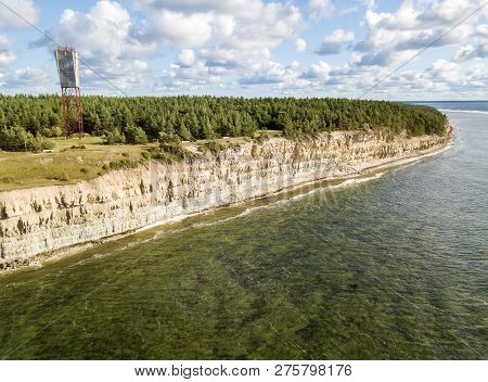Panga Coastal Cliff And Lighthouse, Panga Pank, Mustjala Cliff, Northern Shore Of Saaremaa Island, N