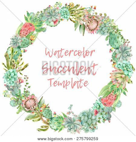 Watercolor Hand Drawn Circle Greeting Card. Made By Succulent Plants Isolated On White Background Wi