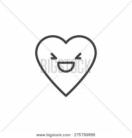 Grinning Squinting Face Emoticon Outline Icon. Linear Style Sign For Mobile Concept And Web Design.