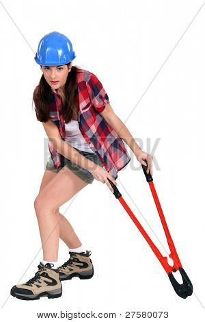 Woman with bolt cutters
