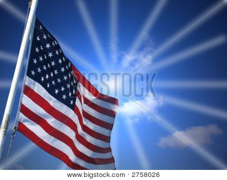 Amercian Flag And Sun Streaked Skies Of Glory