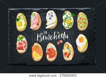 Set Bruschetta With Different Toppings. Vector Graphics.