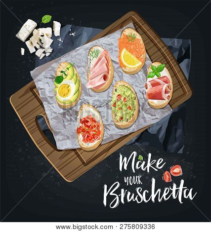 Bruschetta With Different Fillings Are Prepared. Vector Graphics.
