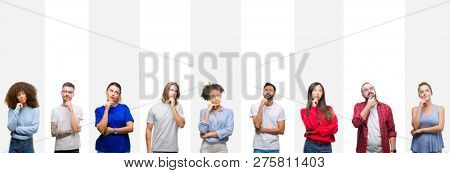 Collage of different ethnics young people over white stripes isolated background with hand on chin thinking about question, pensive expression. Smiling with thoughtful face. Doubt concept.