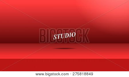 Vector,empty Vivid Red Color Studio Table Room Background ,product Display With Copy Space For Displ