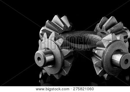 Gears, bearings and differential stars lie on the table close-up poster