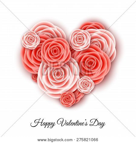 Happy Valentine's Day Banner Template With Heart  Of Living Coral Roses.