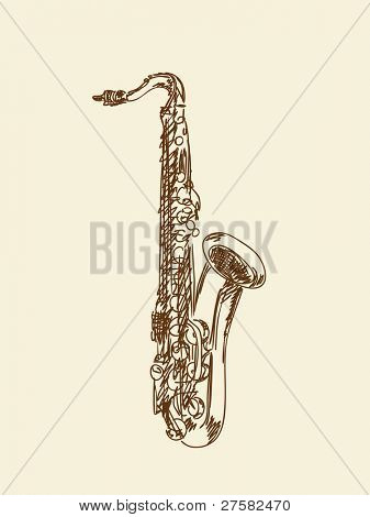Hand drawn saxophone Vector