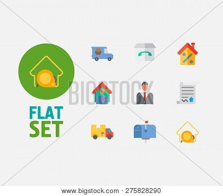 Building Icons Set. Tenant And Building Icons With Mail Box, Move And Contract. Set Of Green For Web