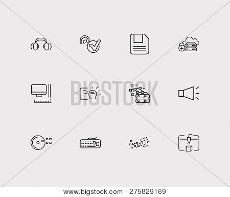 Electronics Icons Set. Steamroller And Electronics Icons With Headphone, Floppy Disk And Computer. S