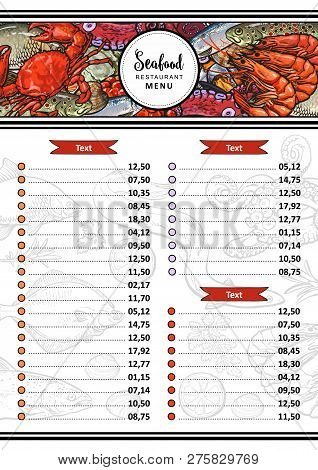 Vector Sea Food Restaurant, Cafe Menu Design