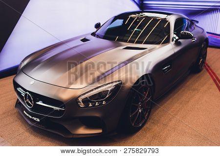 Ufa, Russia - December 23, 2018: Grey Sportscar Mercedes-benz Amg Gt.