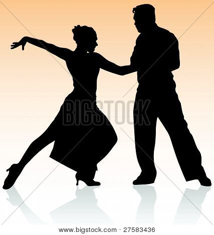 Vector silhouette of couple dancing tango on warm color background.