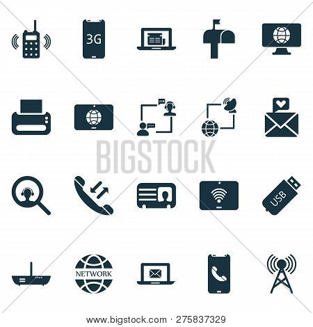 Communication Icons Set With Worldwide, Male Card, Network Communications And Other Magnifier Elemen