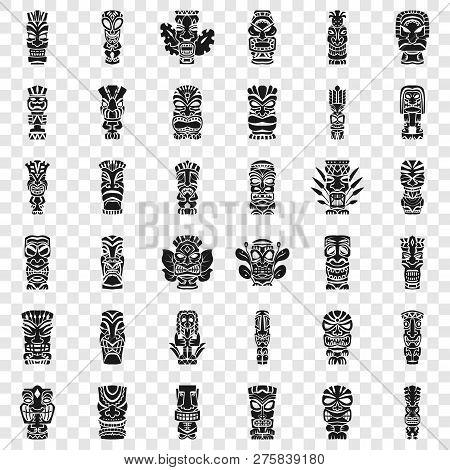 Tiki Idols Icon Set. Simple Set Of Tiki Idols Vector Icons For Web Design